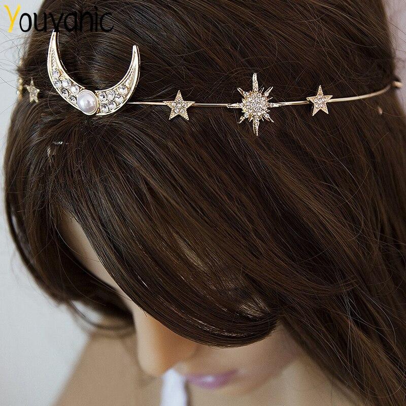 Youvanic Boho Crystal Bride Star Moon Headband For Women Tiara Elastic Hairband Women's Hair Jewelry Accessories Ornaments 0405