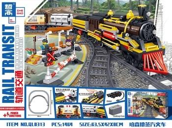1464pcs Percent Steam ElectricTrain Building Blocks  Technic City Classic Train Model Bricks Toys for Children