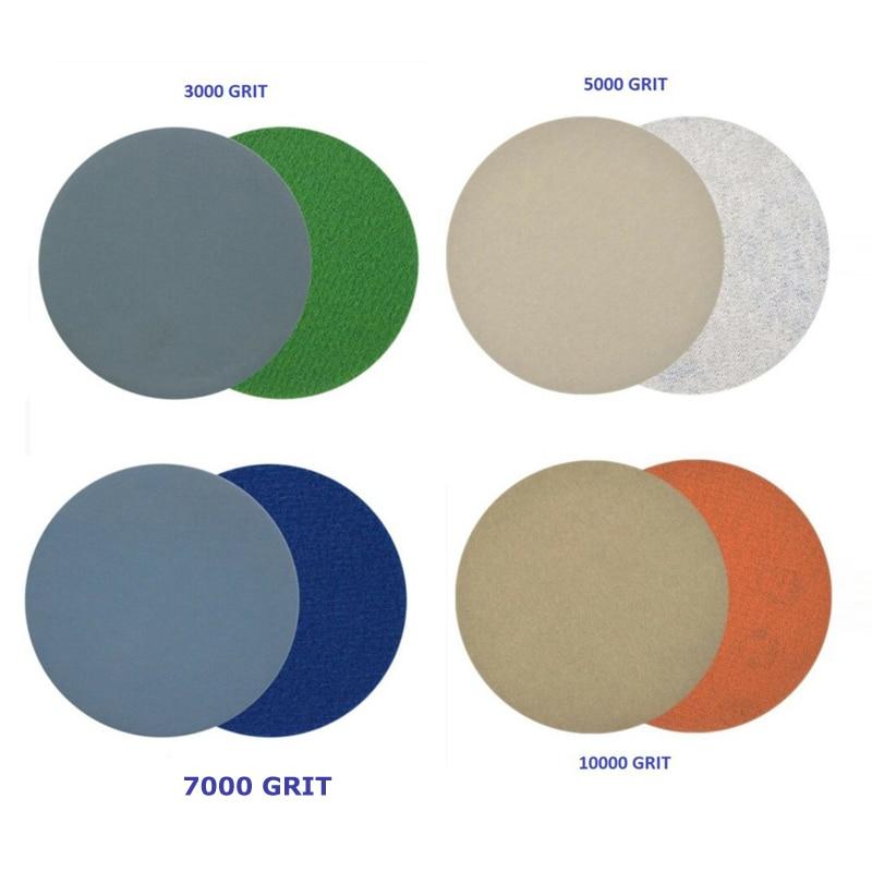 20pcs Hook And Loop 3 Inch 3000 /5000/7000 /10000 Grits Sand Paper Waterproof Wet / Dry Sanding Discs
