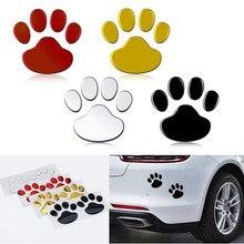Lot de 2 pièces/ensemble autocollants Cool Design empreinte de patte 3D, animaux et chiens, pour la Protection des voitures