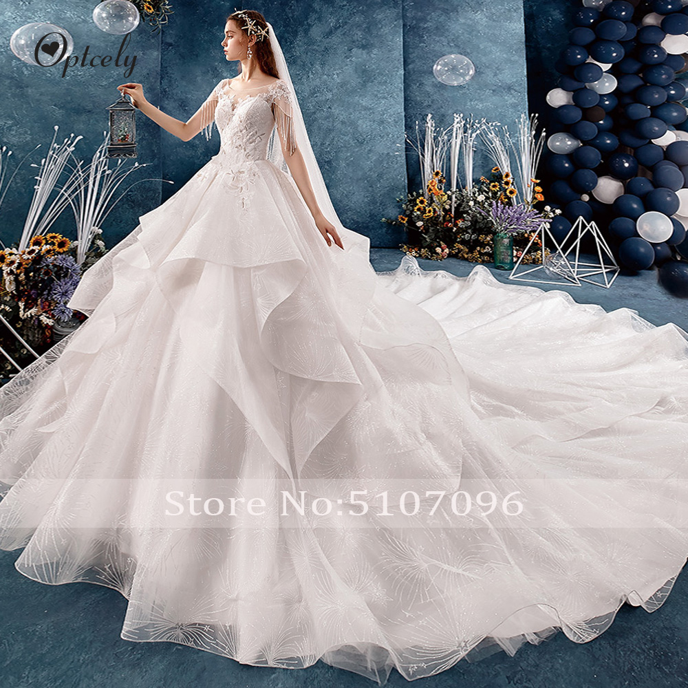 Image 3 - Optcely Fascinating O Neck Ball Gown Cap Sleeve Retro Wedding Dresses 2019 Lace Appliques Beading Long Train Gown Robe De SoireeWedding Dresses   -