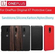Original OnePlus 6T กรณีสต็อก A6013 อย่างเป็นทางการกล่อง 100% Original (BULK ราคา) onePlus 6T ซิลิโคนไนลอนหินทราย Karbon ฝาครอบ