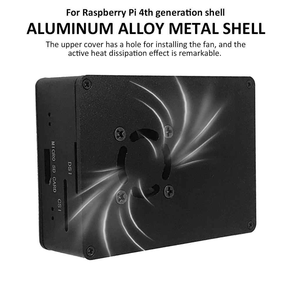 Aluminum Alloy Shell Metal Micro Case Development Board MCU Box with Cooling Fan for Raspberry Pi 4th Generation