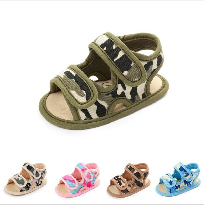 2020 New Baby Camouflage Shoes Soft Sole Crib Shoes Antislip Infants Soft Sandals Fashion Summber Boys Girls First Walkers