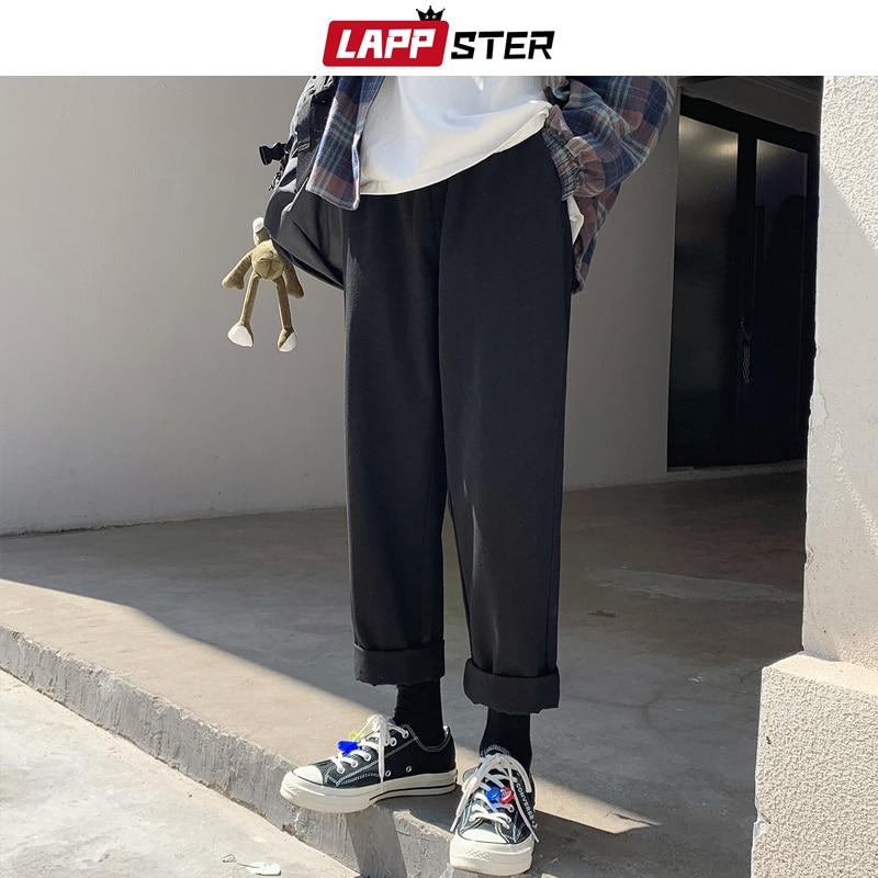 LAPPSTER Men Harajuku Harem Pants 2020 Summer Overalls Mens Wide Leg Cargo Pants Male Korean Fashions Armygreen Black Trousers