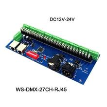 цены DC12V-24V,27channels DMX512 decoder series,with XRL 3P RJ45 27CH led RGB controller for led strip light led lamp