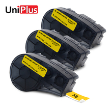 UniPlus 3PK Yellow Label Maker M21 500 595 YL Compatible for Brady Printer BMP21 IDPAL Labpal 12.7mm*6.4mm Tapes