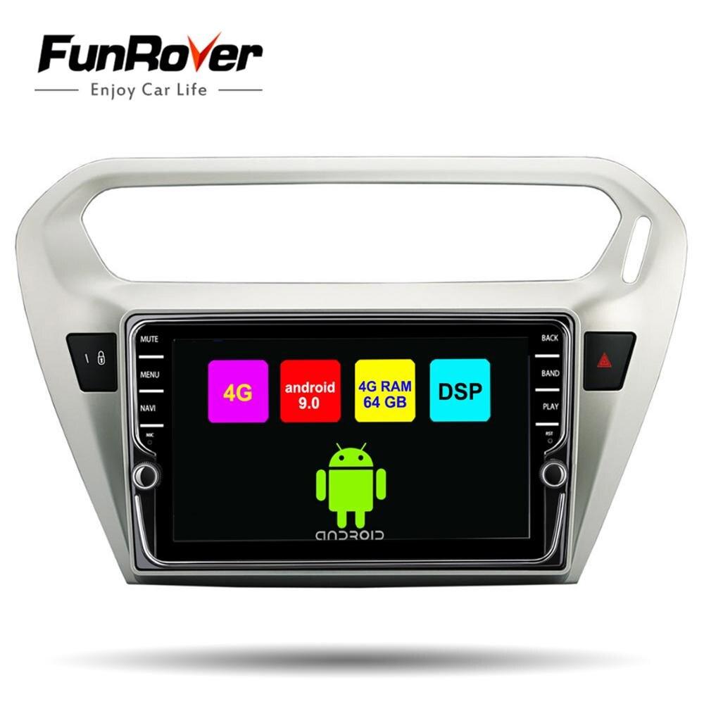 Funrover ips 4G + 64G rom Android 9,0 автомобильный dvd плеер gps навигация Мультимедиа для peugeot 301 Citroen Elysee радио 2013 2016 DSP