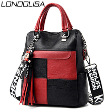 3 in 1 Ladies Back Pack High Quality Leather Tassels Women Backpack Mochilas Large Capacity School Bags for Teenage Girls Sac