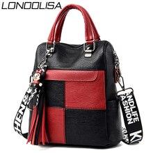 3 in 1 bayanlar sırt çantası yüksek kaliteli deri püsküller kadınlar sırt çantası Mochilas büyük kapasiteli okul çantaları genç kızlar için sac