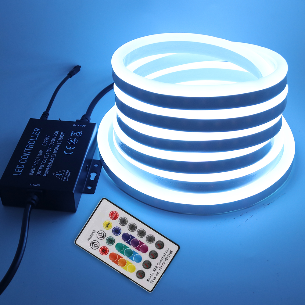 Music RGB Neon Light LED Strip 220V 5050 Remote Control Rope Light Flexible Tape Waterproof IP67 Outdoor Home Decoration Lamp