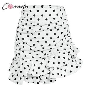 Image 5 - Conmoto mini saia feminina vintage, plissada, outono/inverno, cintura alta, plissada, branca, de 2019