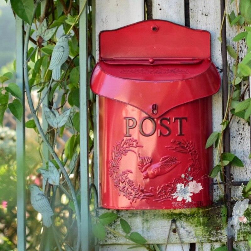 Pastoral bloqueo seguro hierro Post Box Vintage hecho a mano letra Metal correo Box pared montado creativo buzón HW176