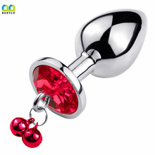 Bestco – jouets sexuels érotiques pour femmes et hommes, 18 + Plug Anal en acier inoxydable, pour stimuler le Massage des fesses, petites cloches en cristal SM, point G pour adultes