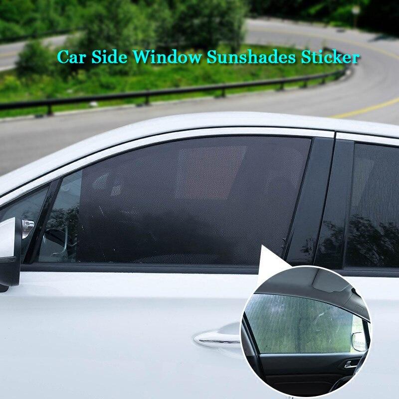 2 Pcs Black Folding Mesh Car Window Curtain Sun Shade Wrap 55 x 42cm