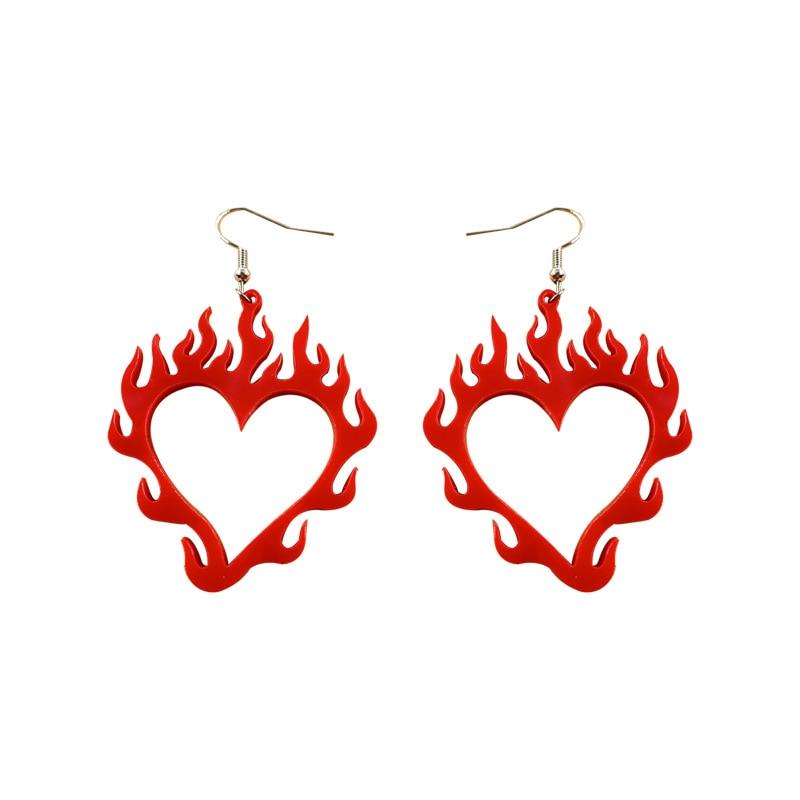 Стильные; В стиле «панк» с вырезами Горящее красное сердце акриловые серьги для женщин, девушек, простые и стильные; В стиле «панк» уникальн...