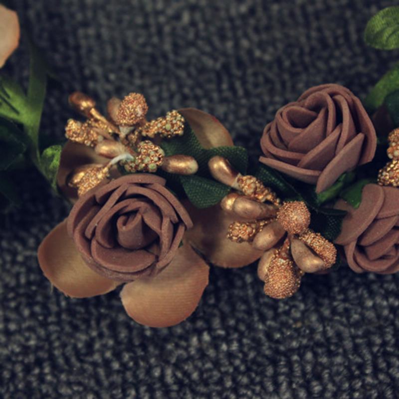 Wedding Garland Flower Crown For Girls Hair Headband Hair Rose Garland Wedding Hair Accessories For Bride Bridesmaids Jewelry