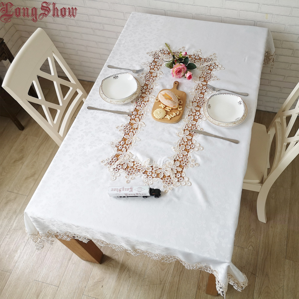 Modern Style Creative Unique Elegant White Jacquard Cover For Cabinet Embroidered Cute Grape Lace Patchwork Tablecloth|Tablecloths|   - title=
