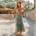 Kiyumi boho vestido feminino sem mangas vestido de verão 2019 botão floral impresso vestidos casuais praia rendas até vestido