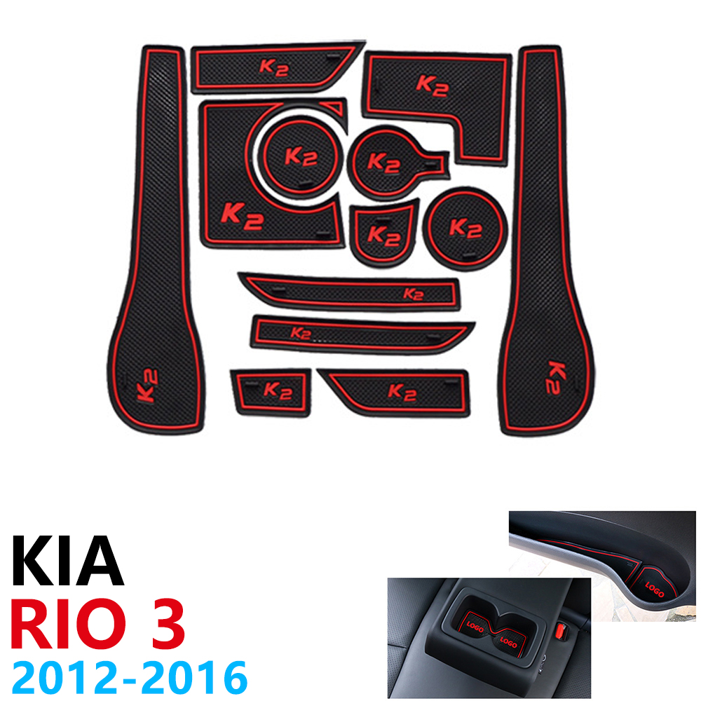 Anti Slip Rubber Cup Cushion Door Groove Mat for KIA RIO 3 K2 1.6L 2012~2016 Accessories Car Stickers mat for phone 2013 2015-in Car Stickers from Automobiles & Motorcycles
