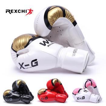 Guantes De kick boxing REXCHI para hombres mujeres PU Karate guantes De Muay thai De Boxeo Lucha Libre MMA Sanda entrenamiento adultos niños equipo