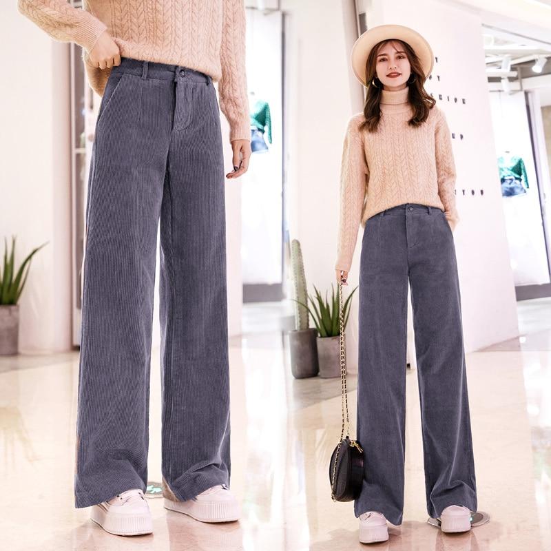 Women Corduroy   Pants   2019 Autumn Winter New Fashion Female Warm Loose   Wide     Leg     Pant   Vintage Casual Corduroy Trousers Pantalon