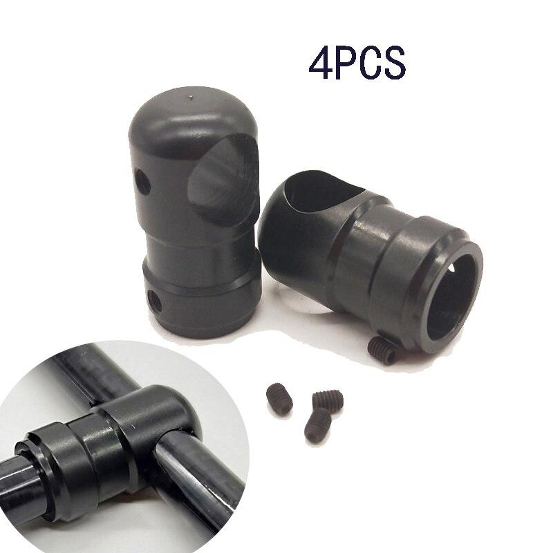 4 pces. multi-eixo chassi aeronaves liga de alumínio três-canal tripé 12mm conversor 12mm fibra de carbono tubo conector