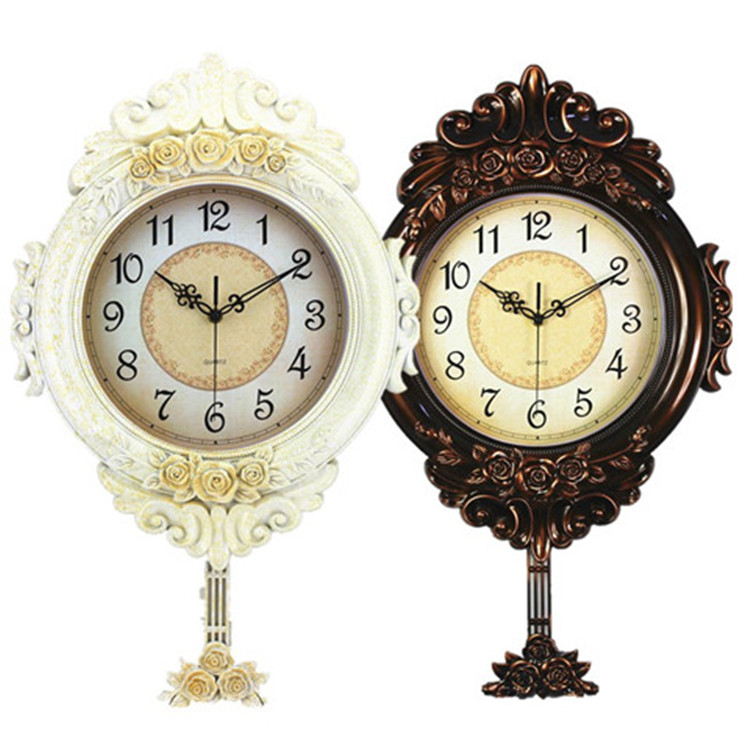 Silent Swing Large Wall Clock Vintage European Retro Shabby Chic Garden Art Decoration Living Room Horloge Murale Decor SC264