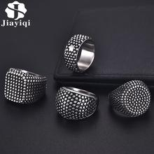Jiayiqi Cool Square Stainless Steel Ring Punk Male Punctiform Geometric Finger Ring Men Vintage HipHop Ring Jewelry Accessories geometric fake turquoise finger ring