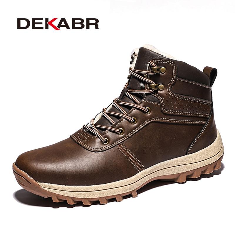 DEKABR Winter Warm Men Boots Genuine Leather Fur Plus Men Snow Boots Handmade Waterproof Working Ankle Boots High Top Men Shoes 4