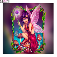 MOONCRESIN 5D DIY Diamond Embroidery Pansy fairy Painting Cross Stitch Full Square Drill Rhinestone Mosaic Decoration Cartoon стоимость