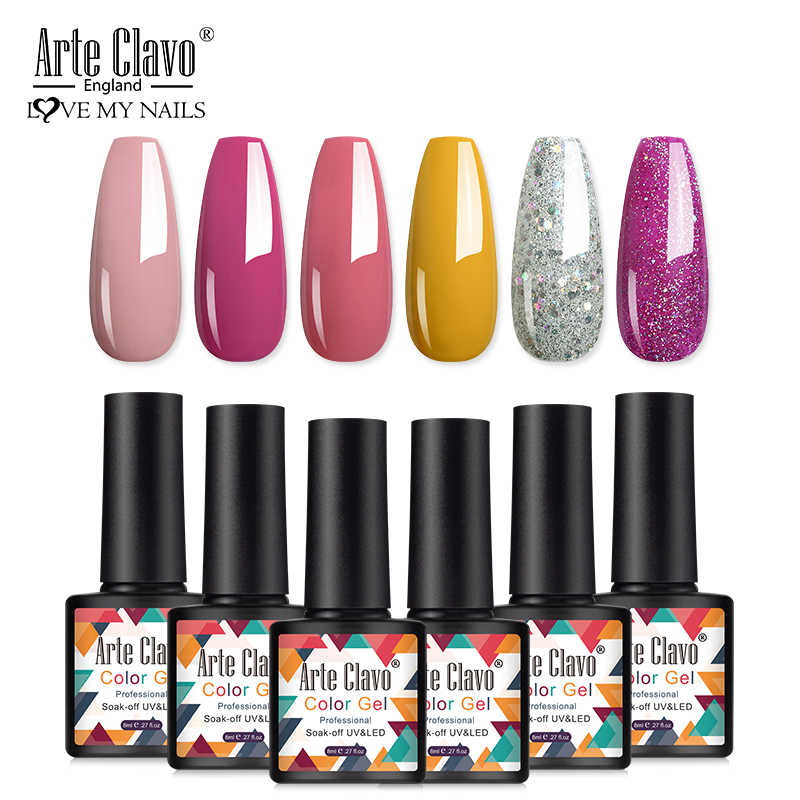 Arte Clavo 8Ml Gel Polish Geen Veeg Top Coat Uv Led Gel Vernis Semi Permanente Vernis Soak Off Nail art Uv Gel Nagellak