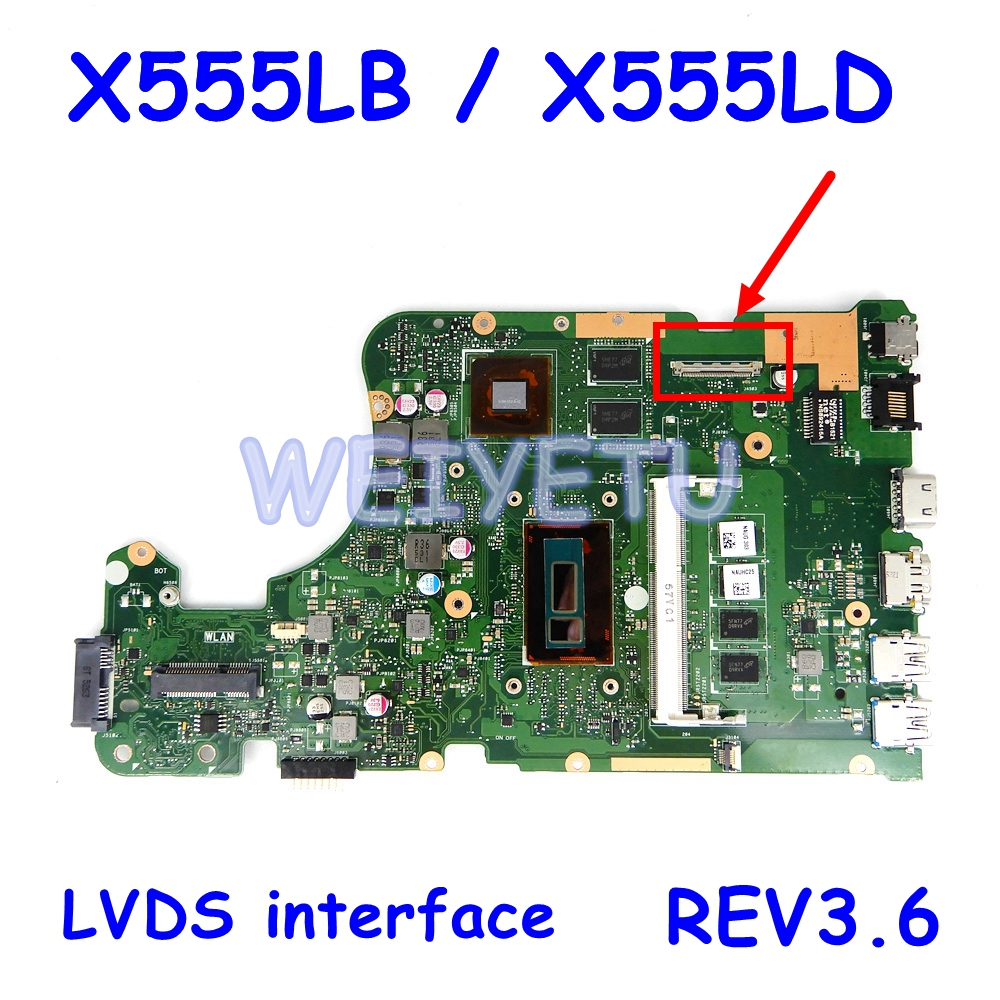 Материнская плата X555LB LVDS, интерфейс 4G RAM, REV3.6 для ASUS X555LJ X555LD X555L A555L K555L F555L, материнская плата для ноутбука, протестированная Рабочая плата