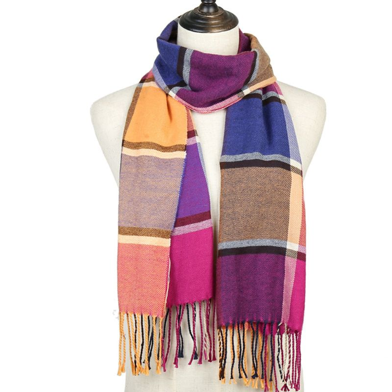 195x33cm Women Men Winter Pashmina Shawl With Fringe Tassels Soft Knitted Warm Scarf Contrast Color Plaid Printed Neck Wraps