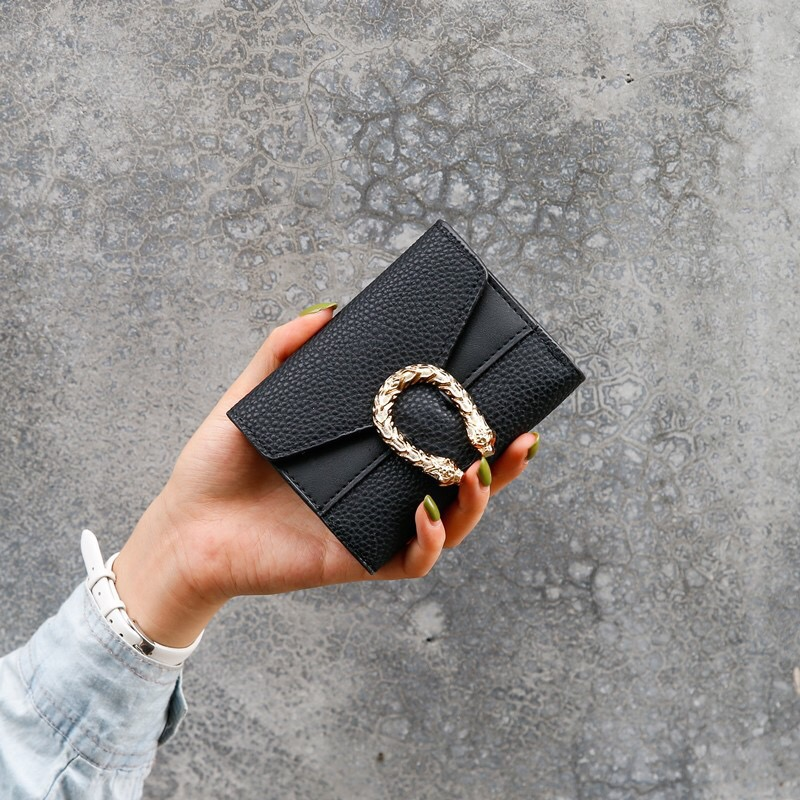Wallet Purses Women Cards Holder Clutch Wallets Purse Cash Coin Pocket Ladies Luxury Design Solid Fashion Vintage Black