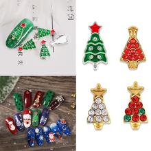Buy 10pcs Christmas Nail Decoration Metallic Snowflakes Xmas Tree Nail Rhinestone Diamond Luxury Manicure Decoration For Christmas directly from merchant!