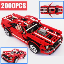 цена на New Muscle Car Technic MOC Fit Legoings Technic Ford Mustang Model Building Blocks Bricks Toys for Gift Kid Boy Birthday