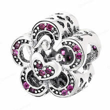 925 Sterling Flower CZ European Charms Bead Fit Pandora Original Bracelets DIY Pendant Charm Beads Girl Women Jewelry Making 925 sterling silver beads peach flower series girl beads for jewelry making fit original pandora bracelets women diy jewelry