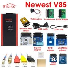 Programador de llave V85 Iprog, compatible con IMMO, corrección de kilometraje y Airbag, reinicio Iprog Pro Till 2019, reemplazo de Carprog con 7 adaptadores