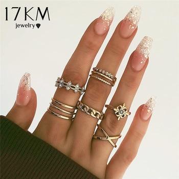 Juego de anillos multicapa con Cruz de Oro Vintage de 17KM para mujer, anillos de dedo de moda con giro elegante, regalos de joyería Cristal brillante para mujer