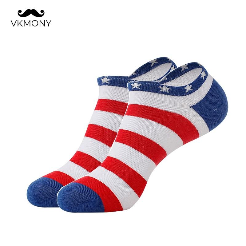 Cotton Socks Men Summer No Show US Flag Pattern Man Socks 3pair/lot (EU 39-46) (US 7.0-12.0) VKMONY