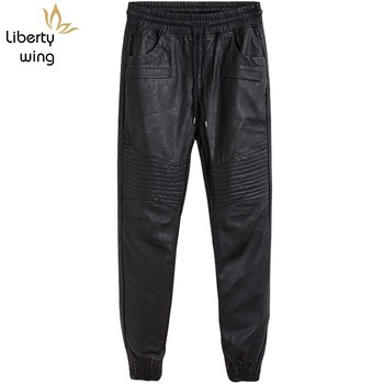 Autumn New Casual Patchwork Mens PU Leather Pants Drawstring Waist Punk Moto Biker Male Slim Harem Trousers Plus Size Streetwear