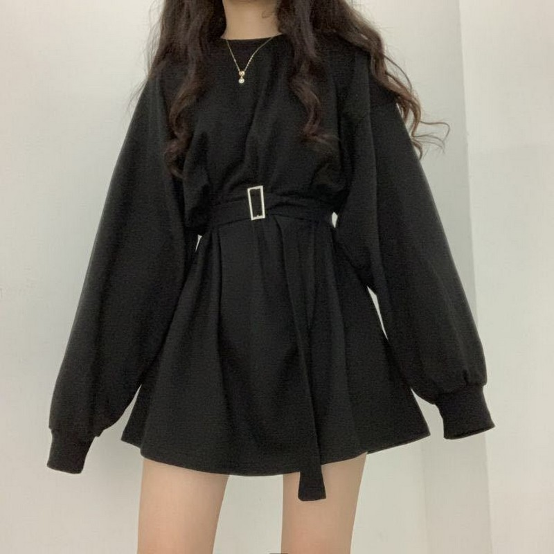 2020 Spring Summr Long Sleeves Female Dresses O-Collar Korean Fashion Loose Plus Size Oversized Women Dress Tide Female Vestidos