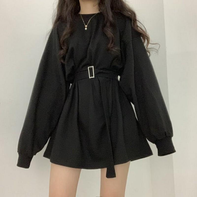 2020 Spring Summr Long Sleeves Female Dresses O-Collar Korean Fashion Loose Plus Size Oversized Women Dress Tide Female Vestidos