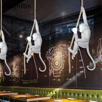 Black/White/Gold Monkey Lamp Replicas Seletti Vintage Pendant Lights Hemp Rope Hanging Lamps Dining Room Loft Industrial Decor