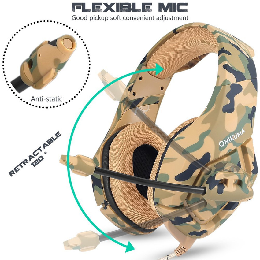 ONIKUMA K1 Camouflage PS4 Headset Bass Gaming Headphones Game Earphones Casque with Mic for PC Mobile Phone New Xbox One Tablet 3