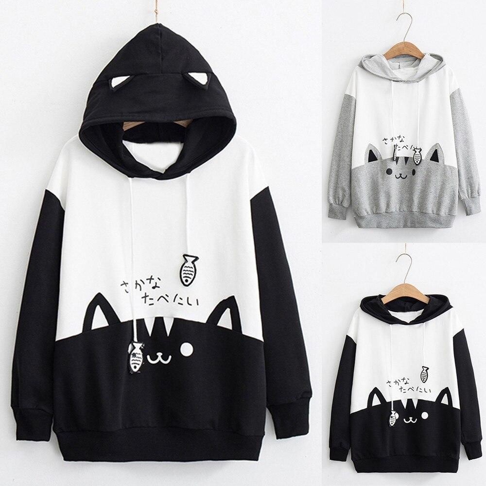 Women's Sweatshirt Long Hoodie Ladies Autumn Long Sleeve Sweatshirt  Kitty Cat Print Pocket Thin  Hoodie Harajuku Streetwear