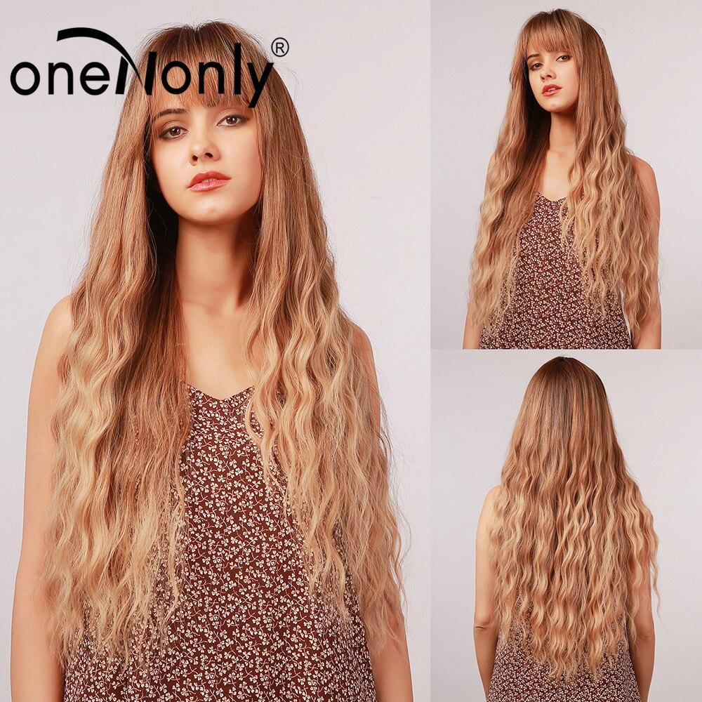 OneNonly длинные Омбре коричневые блонд свободные волнистые синтетические парики с челкой для белых черных женщин Косплей натуральные волосы ...