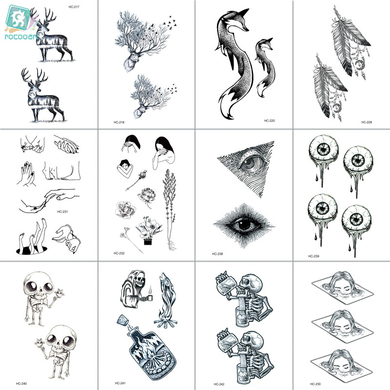 RC HC-217-242 Body Art Tatoo Beauty Black White Drawing Dear Wolf Leave Skull Water Transfer Temporary Flash Fake Tattoo Sticker