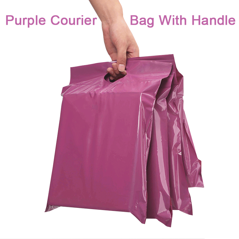 50pcs Purple Tote Bag Express Bag With Handle Courier Bag Self-Seal Adhesive Thick Waterproof Plastic Poly Envelope Mailing Bags